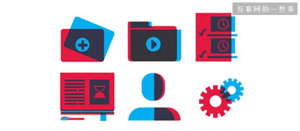 不一样的极简风!细腻有趣的三色极简图标设计案例,互联网的一些事