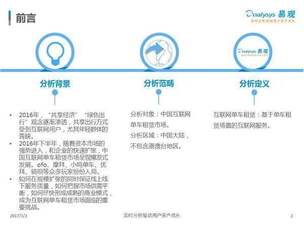 2017中国互联网单车租赁市场专题分析(附完整报告下载)