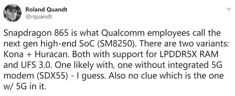 驍龍865規格曝光:內存閃存雙提升+提供5G版本