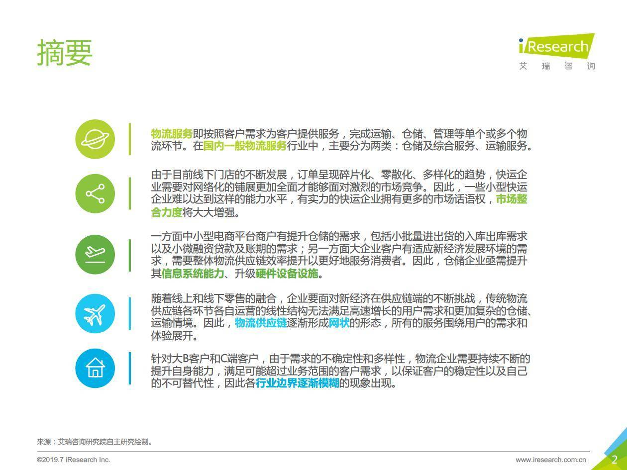 艾瑞咨询 :2019年中国物流服务行业研究报告