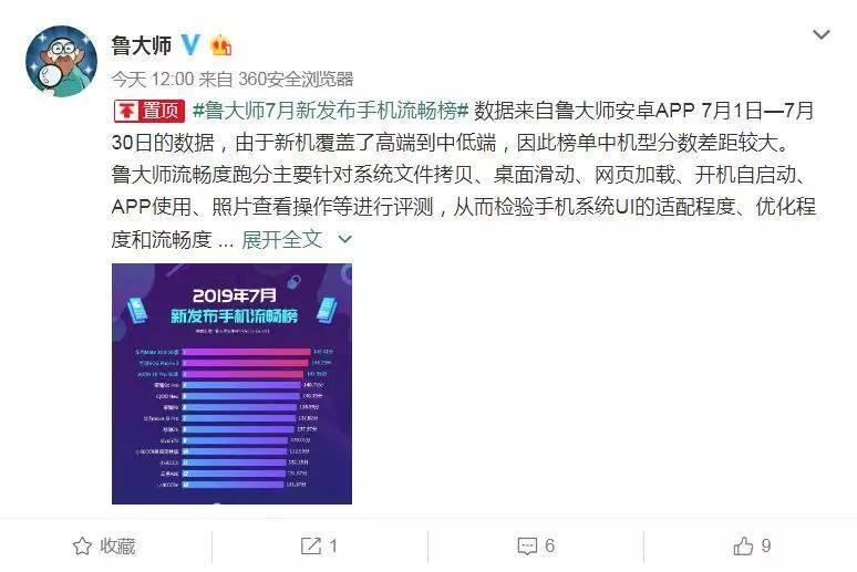 鲁大师公布7月新机流畅度排行榜:Mate 20X 5G第一