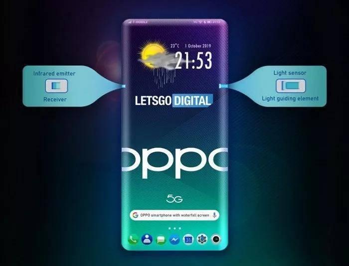 OPPO全新手机专利设计图曝光:瀑布屏+屏下摄像头