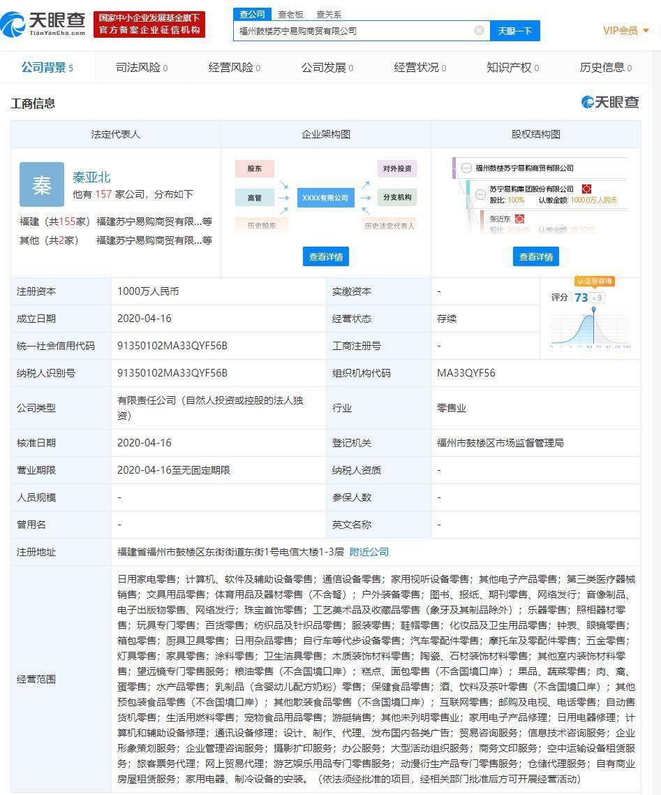 苏宁易购于福建再成立商贸公司,经营范围含第三类医疗器械销售等