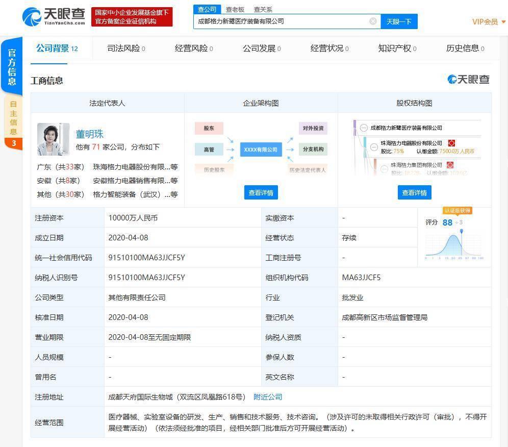 董明珠名下成立医疗装备新公司,注册资本1亿人民币