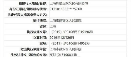 王思聪旗下熊猫互娱再增失信被执行人信息,执行标的超1000万