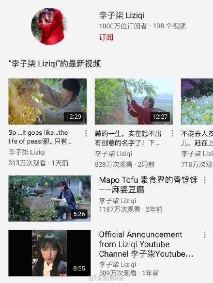 Youtube网红博主李子柒在海外粉丝破千万
