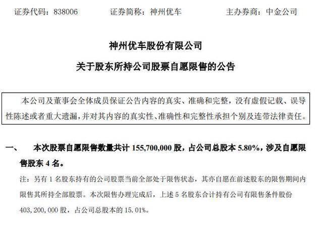 神州优车:陆正耀等股东自愿限售所持股票1.56亿股