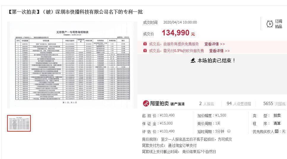 快播商标及专利拍卖,以963.56万元成交