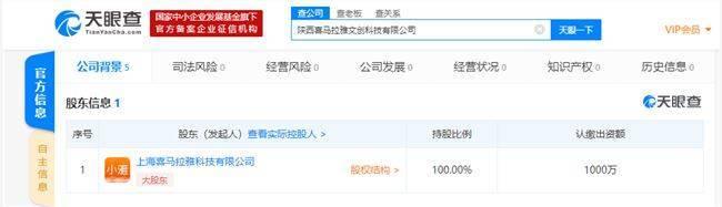 喜马拉雅在陕西成立文创科技公司 注册资本1000万