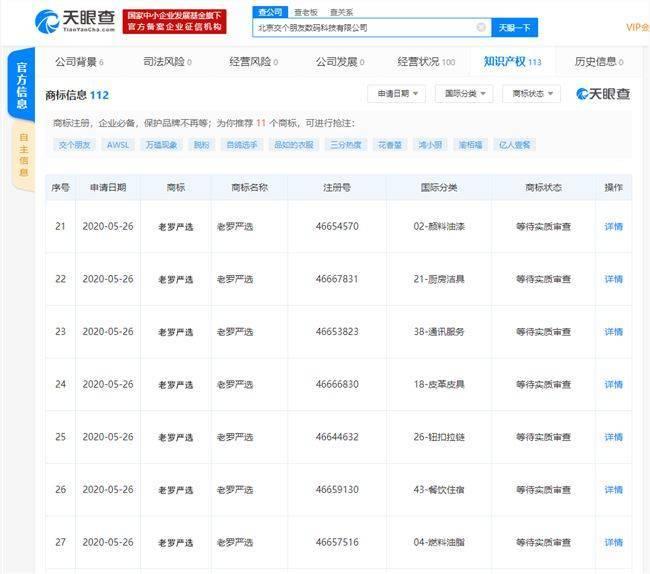 """北京交个朋友数码科技有限公司申请注册""""老罗严选""""商标"""