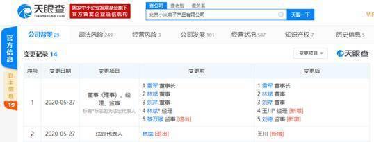 小米联合创始人林斌卸任北京小米电子产品有限公司法定代表人