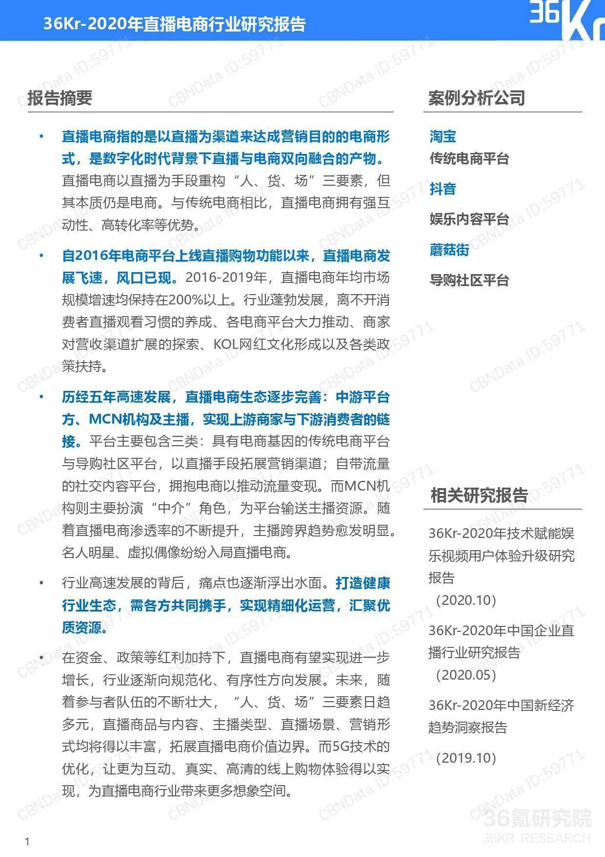 """6氪研究院:2020年中国直播电商行业研究报告"""""""