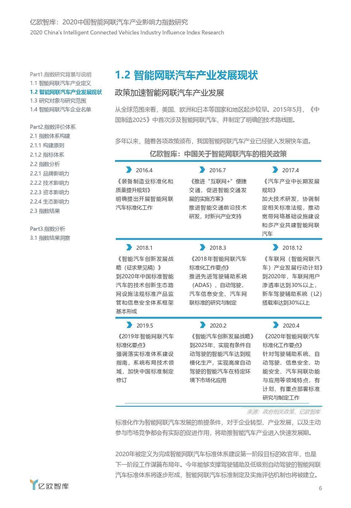 亿欧智库:2020中国智能网联汽车产业影响力指数研究