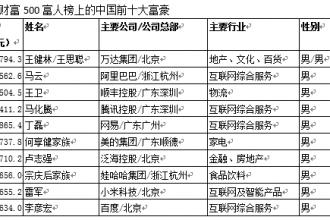 2017新财富500富人榜:王健林、王思聪父子坐稳首富宝座